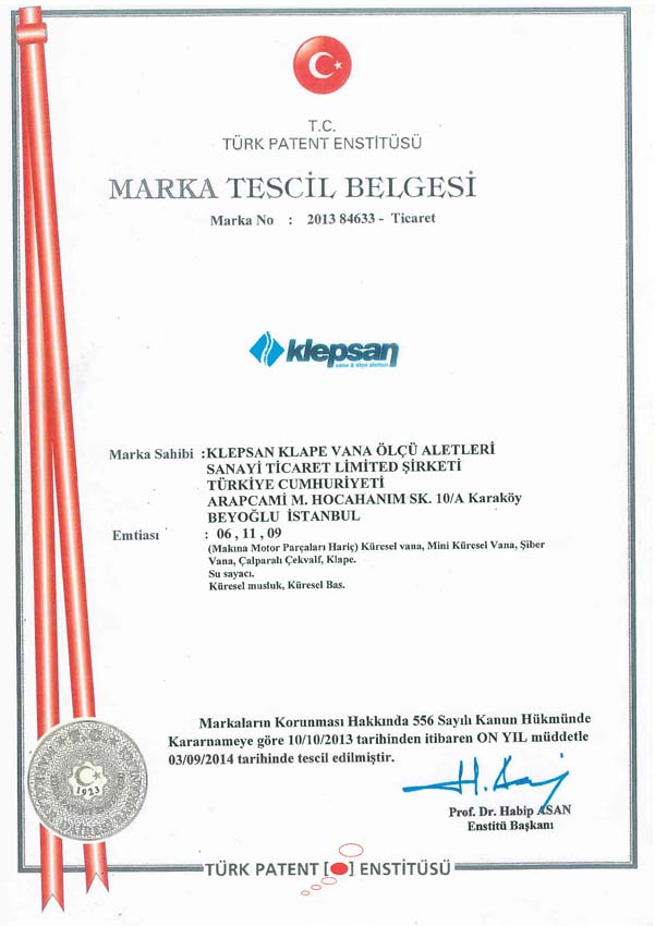Our trademark registration document